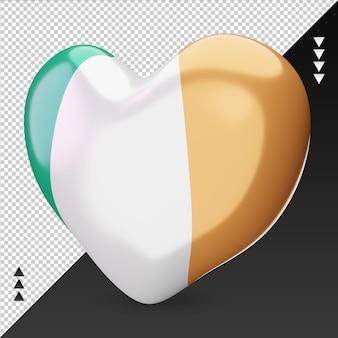 Amor, bandeira da micronésia, coração, renderização em 3d, vista direita