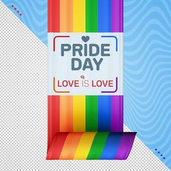Amor com fita do dia do orgulho é renderização de amor