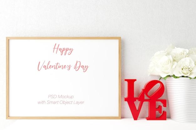 Amor e dia dos namorados com maquete de moldura de foto