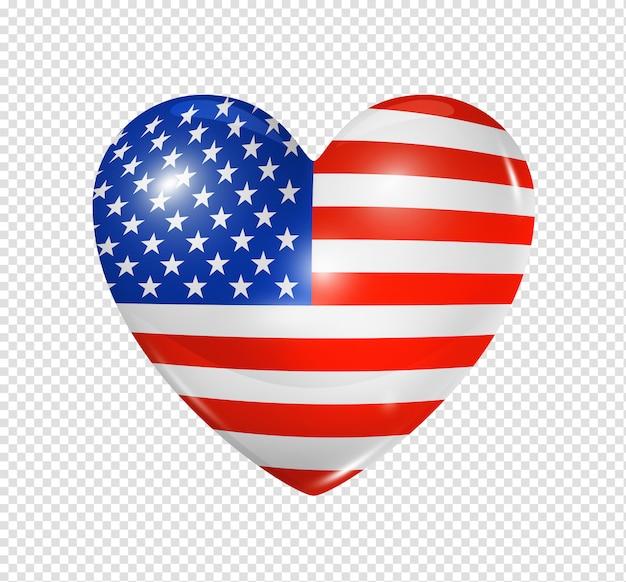 Amor eua, ícone de bandeira do coração