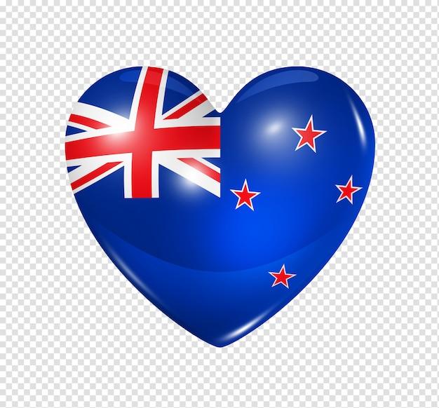 Amor nova zelândia, ícone de bandeira do coração