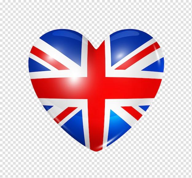Amor reino unido, ícone de bandeira do coração