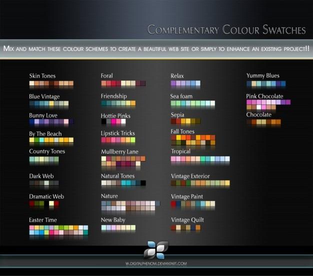 Amostras de cores complementares