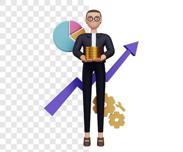 Análise de crescimento de lucro de negócios 3d