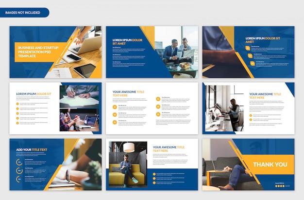 Análise de negócios e design de modelo do slider de apresentação do projeto
