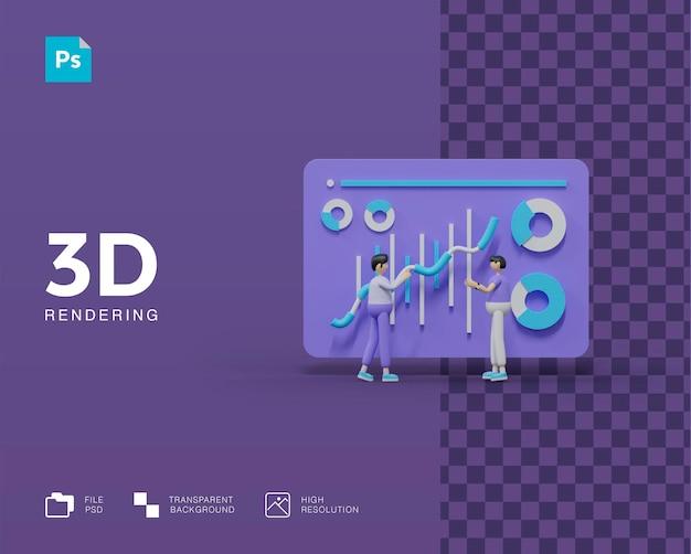 Analista de dados de trabalho em equipe de ilustração 3d