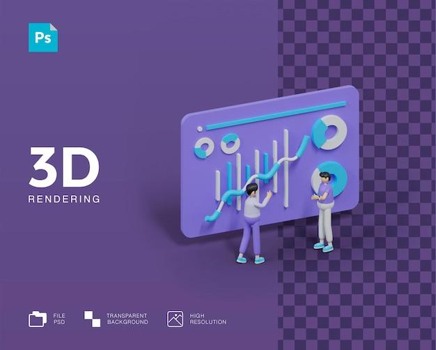 Analista de dados de trabalho em equipe de ilustração 3d Psd Premium