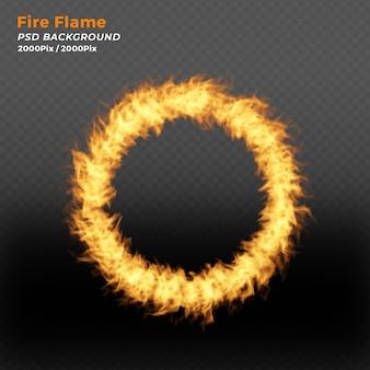 Anel de fogo realista com partículas de fogo