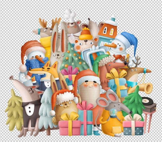 Animais engraçados de natal