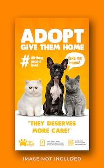 Animal de estimação adota modelo de banner de história do instagram de mídia social promocional