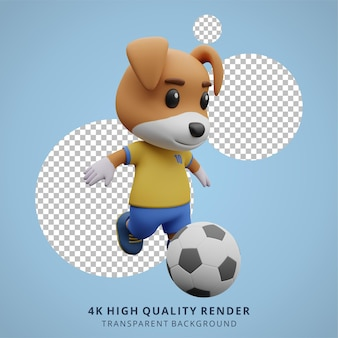 Animal dog football ou soccer player 3d ilustração de personagem fofa