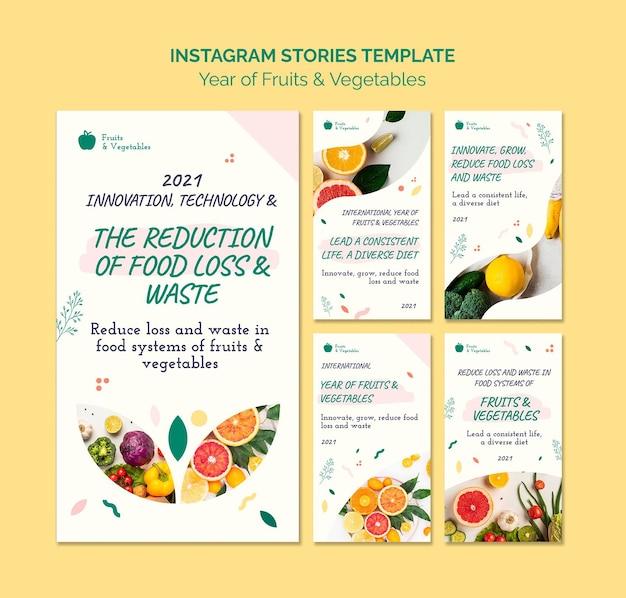 Ano da coleção de histórias de mídia social de frutas e vegetais