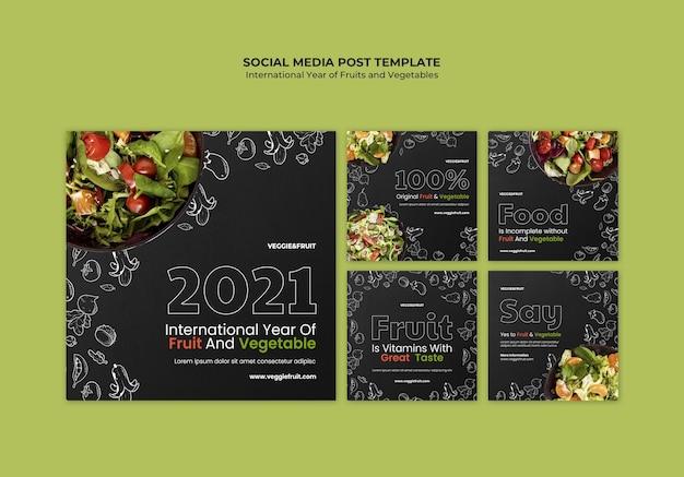 Ano internacional das frutas e vegetais post nas redes sociais