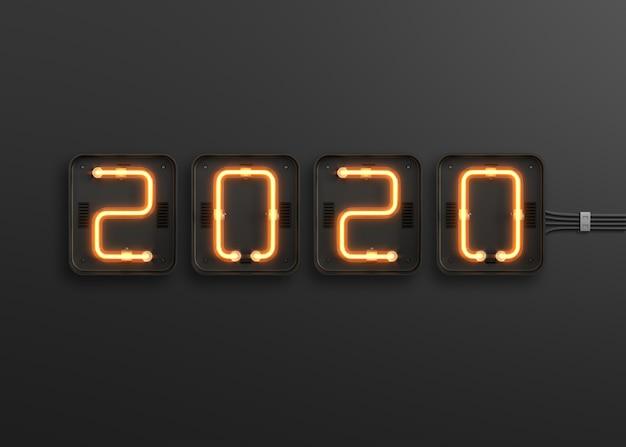 Ano novo 2020 feito de luz neon