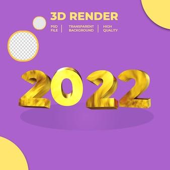 Ano novo 2022 com renderização 3d