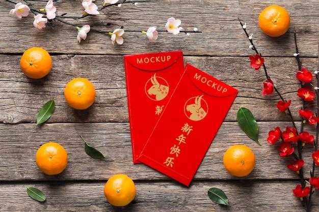 Ano novo chinês de 2021 com maquete de flores