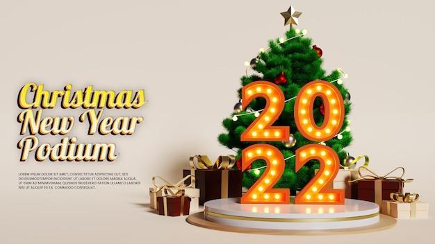 Ano novo de natal luxury neon podium