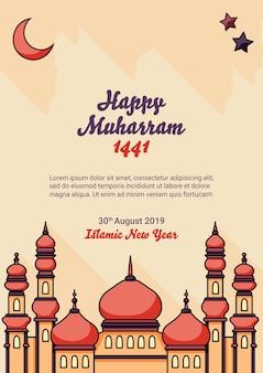Ano novo islâmico com cartaz de mesquita