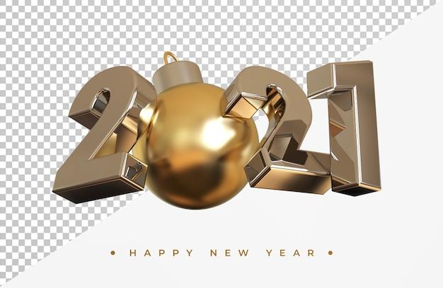 Ano novo prata 2021 com renderização 3d de bola de natal isolada