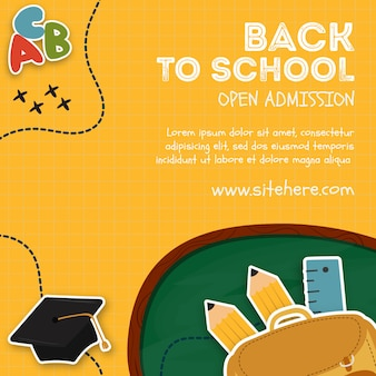 Anúncio criativo para a admissão aberta no modelo da escola