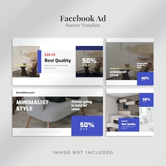 Anúncio de banner horizontal e quadrado no facebook com design minimalista