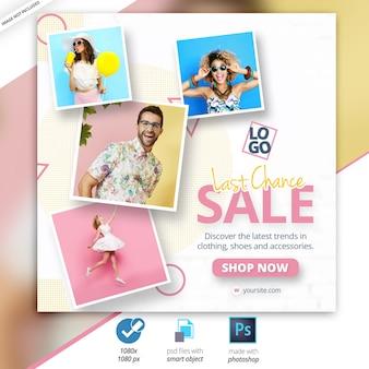 Anúncio de banner na web de mídia social de venda