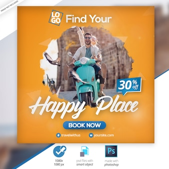 Anúncio de banner na web de mídia social de viagens