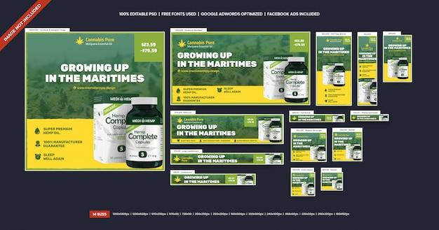 Anúncio de banners de óleo de cânhamo cannabis