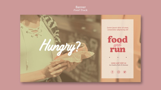 Anúncio de caminhão de comida de modelo de banner
