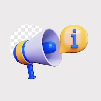 Anúncio de informações 3d por ícone de alto-falante de megafone