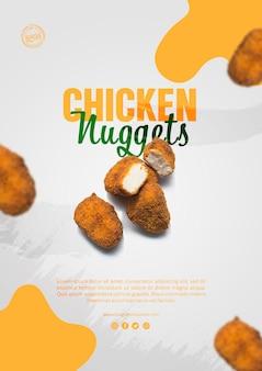 Anúncio de nuggets de frango modelo