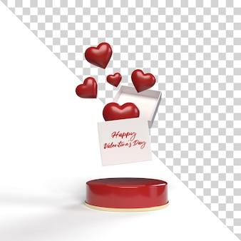 Anúncio de presente de maquete de dia dos namorados isolado 3d
