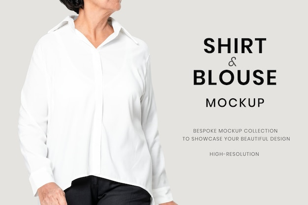 Anúncio de vestimenta sênior psd de maquete de blusa