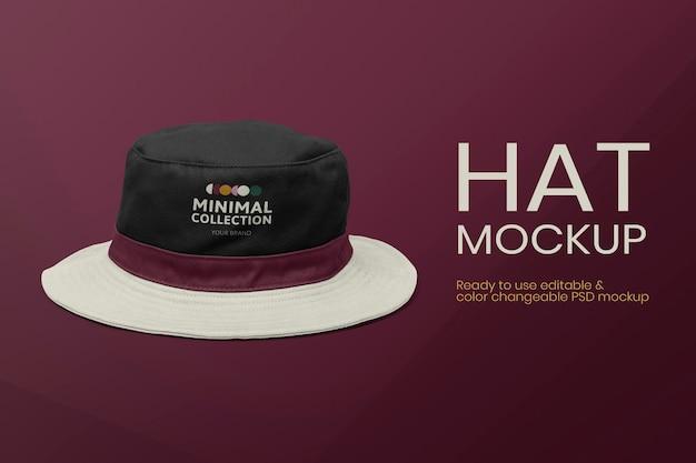 Anúncio de vestuário psd de maquete de chapéu de balde editável