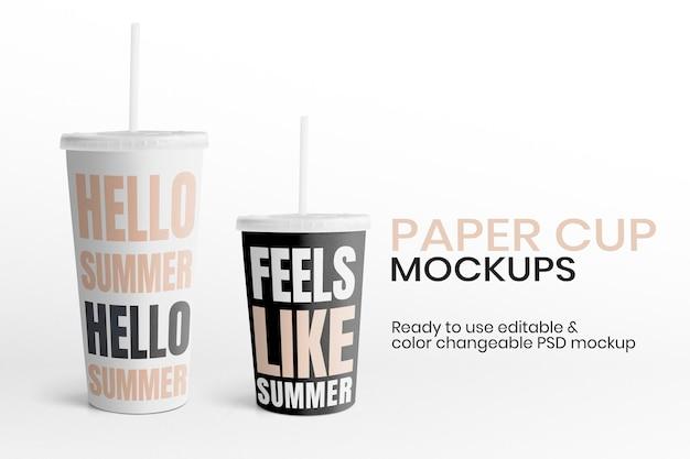 Anúncio editável do copo de papel