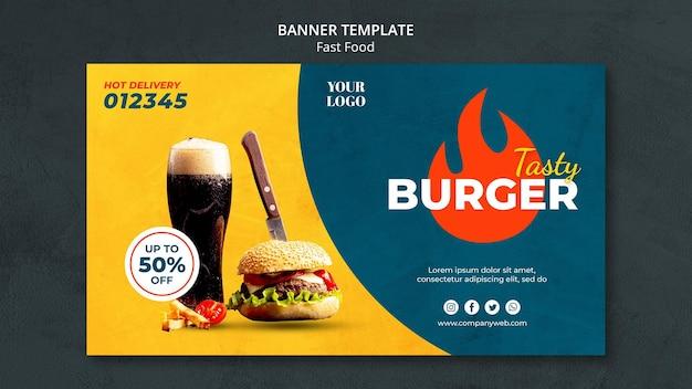 Anúncio modelo de banner fast food
