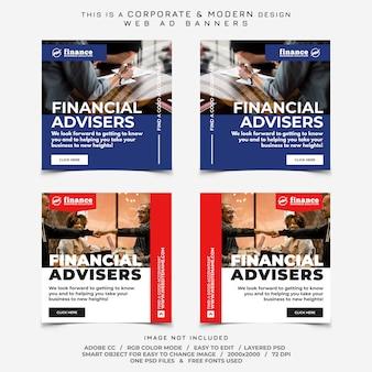 Anúncios de banner de finanças de negócios