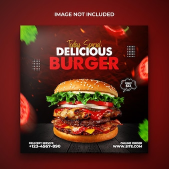 Anúncios de menu de fast food de hambúrguer delicioso projetam modelo de banner de promoção de mídia social