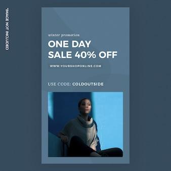 Anúncios de modelo de história do instagram de moda de venda de um dia