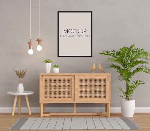 Aparador de madeira na sala de estar com maquete de moldura