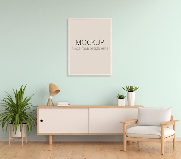 Aparador na sala de estar com maquete de moldura
