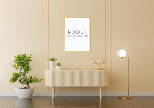 Aparador no interior da sala de estar com maquete de moldura