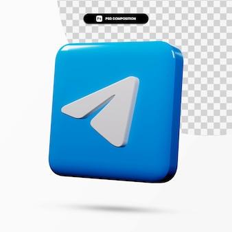 Aplicação de logotipo de telegrama de renderização 3d isolada