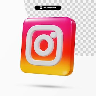 Aplicação de logotipo instagram de renderização 3d isolada