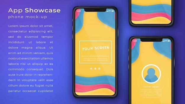 Aplicação de telefone elegante mock up display