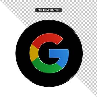 Aplicação do logotipo do google com renderização 3d isolada