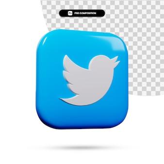 Aplicação do logotipo do twitter com renderização 3d isolada