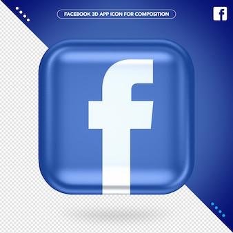 Aplicativo 3d do facebook Psd Premium