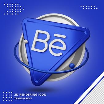 Aplicativo de logotipo de renderização 3d behance isolado