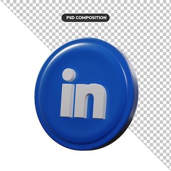 Aplicativo de logotipo de renderização 3d do linkedin isolado